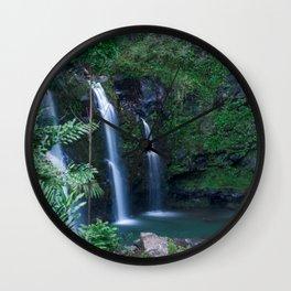 Upper Waikani Falls // Horizontal Wall Clock