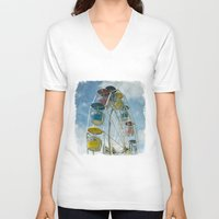 ferris wheel V-neck T-shirts featuring Ferris Wheel by Mary Kilbreath
