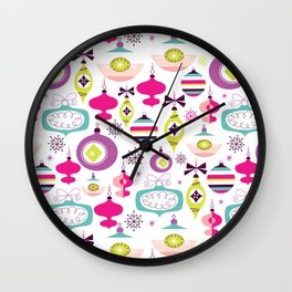 Retro Christmas Ornaments Holiday Pattern Wall Clock