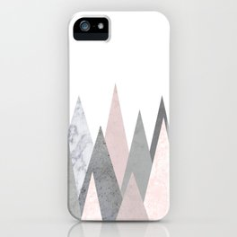 BLUSH MARBLE GRAY GEOMETRIC MOUNTAINS iPhone Case