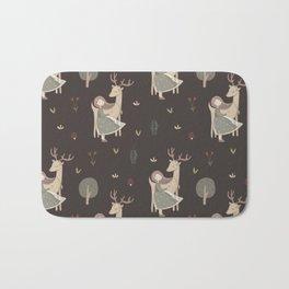 Girl and Deer - brown Bath Mat