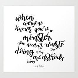 monster (kaz brekker) Art Print