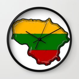 Lithuania Map with Lithuanian Flag Wall Clock