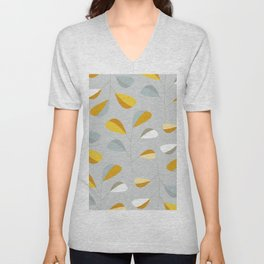 Mid Century Modern Graphic Leaves Pattern 2. Pastel Grey Unisex V-Neck