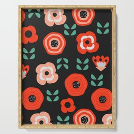 Midnight floral decor Serving Tray