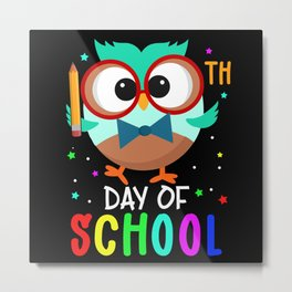 School Day Owl Gift Idea Design Motif Metal Print