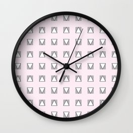 Audrey and Frank - Modern Envelopes Grid (Pink) Wall Clock