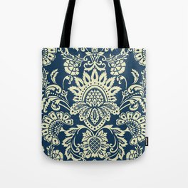 damask in white and blue vintage Tote Bag