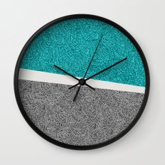 Digital Pen & Ink: Turquoise & Black Doodles Wall Clock