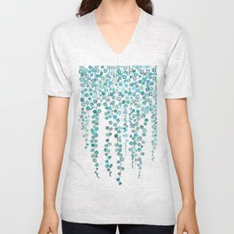String Of Pearls plants watercolor 2 Unisex V-Neck