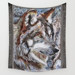 Gray Wolf Watches and Waits Wall Tapestry
