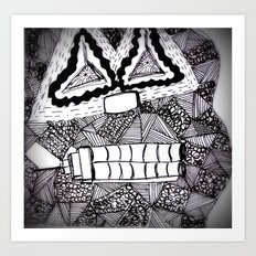 Mask 4: Repressed (B&W) Art Print