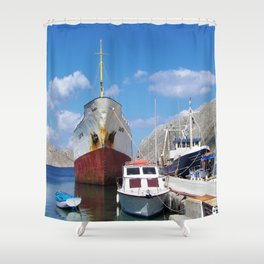 Old Battered Cargo Ship Shower Curtain