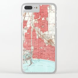 Vintage Map of Long Beach California (1949) 3 Clear iPhone Case