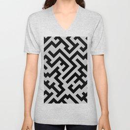 Black and Gray Diagonal Labyrinth Unisex V-Neck