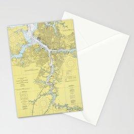 Norfolk VA, Porstmouth VA & Elizabeth River Map Stationery Cards