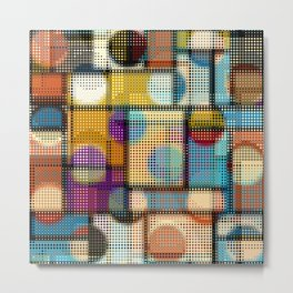 Geometric abstract pattern in low poly pixel art style. Seamless vintage image.  Metal Print