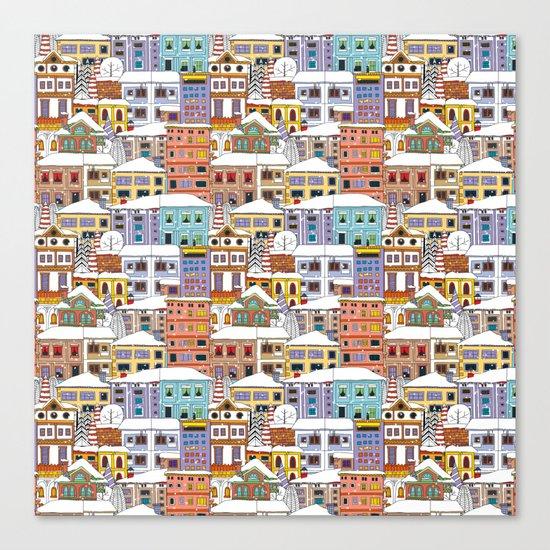 Winter town pattern Canvas Print