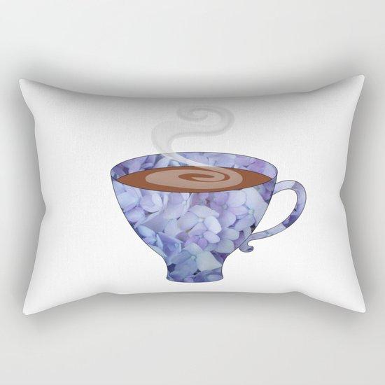 blue hydrangea espresso cup - coffee cup series Rectangular Pillow