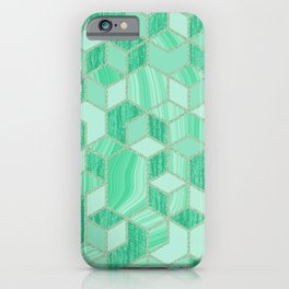 Green Glitter and Liquid Marbling iPhone Case