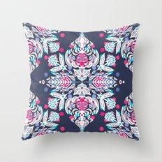 Pastel Folk Art Pattern in soft navy, pink, mauve & white Throw Pillow