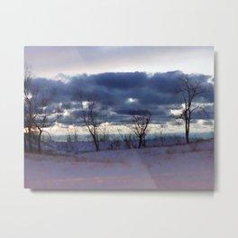 Winter night scene Metal Print