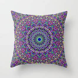 Happy Bohemian Jungle Mandala Throw Pillow