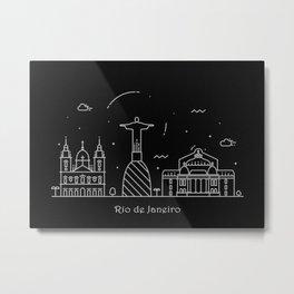 Rio de Janeiro Minimal Nightscape / Skyline Drawing Metal Print