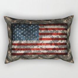 Digital Camo Patriotic Chevrons American Flag Rectangular Pillow