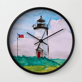 Cape Poge Lighthouse, Martha's Vineyard watercolor Wall Clock