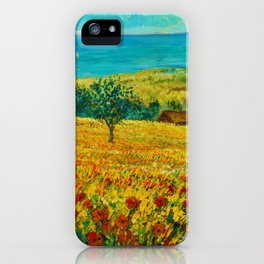 Rolling Hills of Red Poppies, Tuscany, Italy Landscape Painting iPhone Case