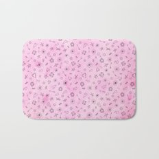 Pink girly watercolor pattern Hearts and Stars Bath Mat