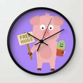 Pig with Cactus Wall Clock