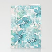Stationery Cards featuring Blue green watercolor flower pattern by LebensART