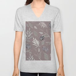 Simple and stylized flowers 14 Unisex V-Neck