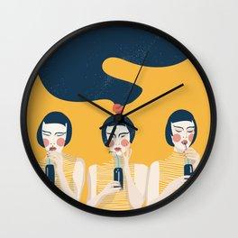 Three Girls in Yellow Wall Clock