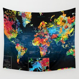 World Map Black - 2 Wall Tapestry