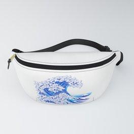Kanagawa Cat Wave White Fanny Pack