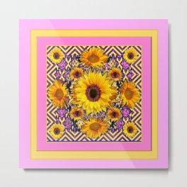 Pink Color & Yellow Sunflowers Garden Pattern Art Metal Print