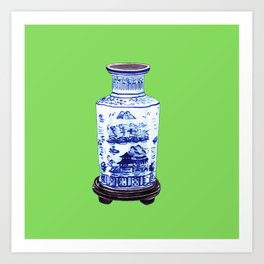 Chinese Vase on Green Art Print