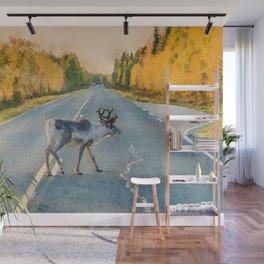 Lappi reindeer watercolor painting Wall Mural