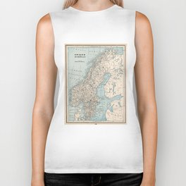 Vintage Map of Norway and Sweden (1893) Biker Tank