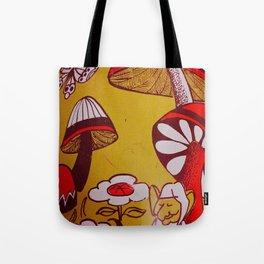 mushrooms and flowers Tote Bag