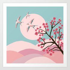 Swallows in Spring Art Print