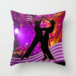 Tango Dancers With Stage Lights Neon Colors Throw Pillow