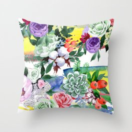 Breathtaking Colorful Watercolor Floral Print Throw Pillow
