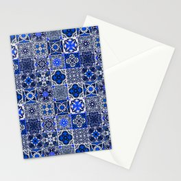 -A34- Blue Traditional Floral Moroccan Tiles. Stationery Cards