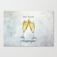 champagne Canvas Prints featuring Champagne! by mJdesign