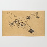 airplane Area & Throw Rugs featuring Airplane diagram by marcusmelton