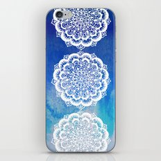 White Floral Medallion on Indigo & Turquoise Watercolor iPhone & iPod Skin
